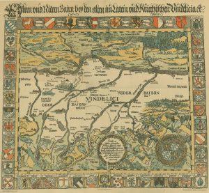 Bild der ersten Landkarte Bayerns; Aventinus, 1523
