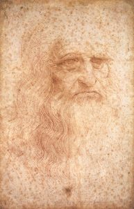 So genanntes Selbstbildnis Leonardo da Vincis, um 1512 (Rötelzeichnung, Biblioteca Reale, Turin).