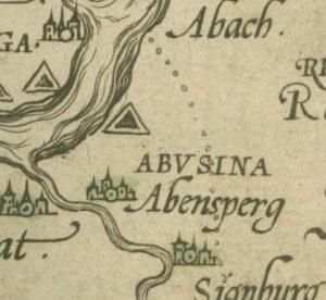 Ausschnitt aus einem Nachdruck der Aventinus-Karte.