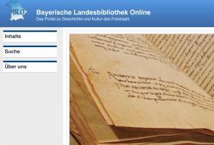 Seite der Bayerischen Landesbibliothek