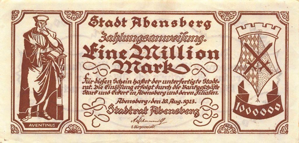 Notgeld der Stadt Abensberg, 1923
