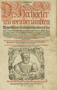 Titelblatt der Erstausgabe der Bayerischen Chronik von 1566