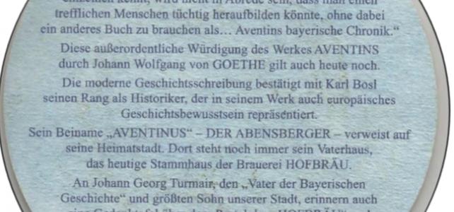 Erinnerungen an Aventinus – auch am Bierdeckel