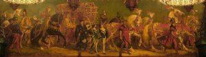 Landshuter Rathaus. An den Wänden des Prunksaales befinden sich Szenen aus der Prinzenhochzeit von 1475. Hier sehen wir den Wagen der polnischen Prinzessin Hedwig. Neben ihr reitet der Herzogssohn Georg der Reiche. Das Bild entstand Ende des 19. Jahrhunderts und wurde von August Spieß, Rudolf Seitz, Ludwig Löfftz und Konrad Weigand gemalt.